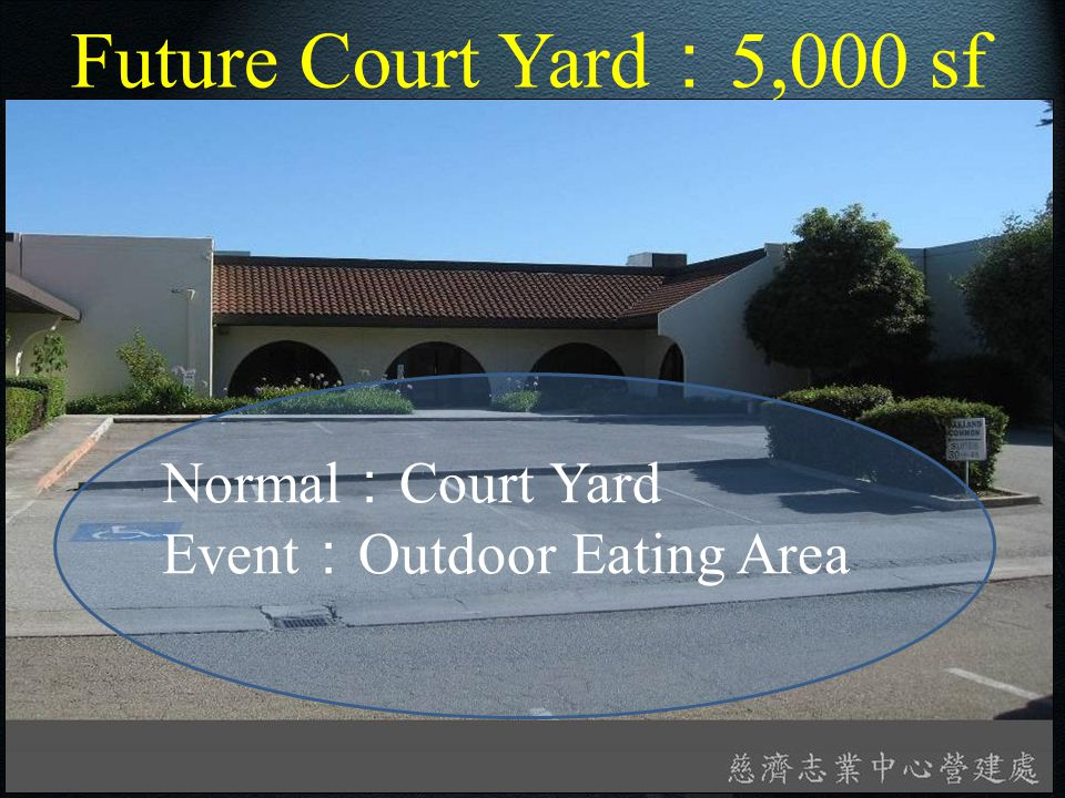 Future Court Yard : 5,000 sf Normal : Court Yard Event : Outdoor Eating Area