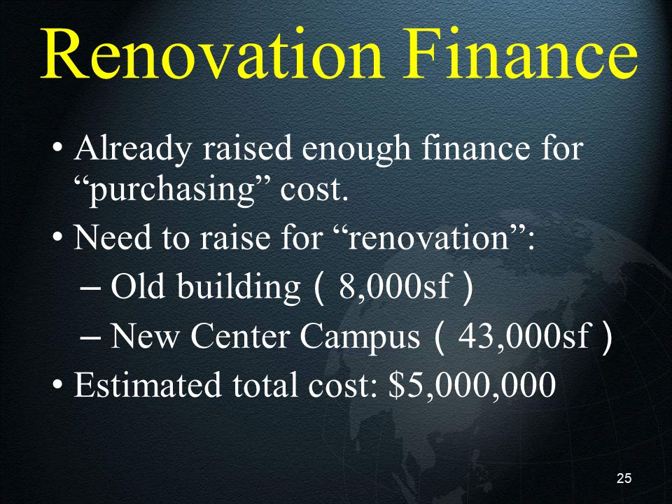 """25 Renovation Finance Already raised enough finance for """"purchasing"""" cost. Need to raise for """"renovation"""": – Old building ( 8,000sf ) – New Center Cam"""