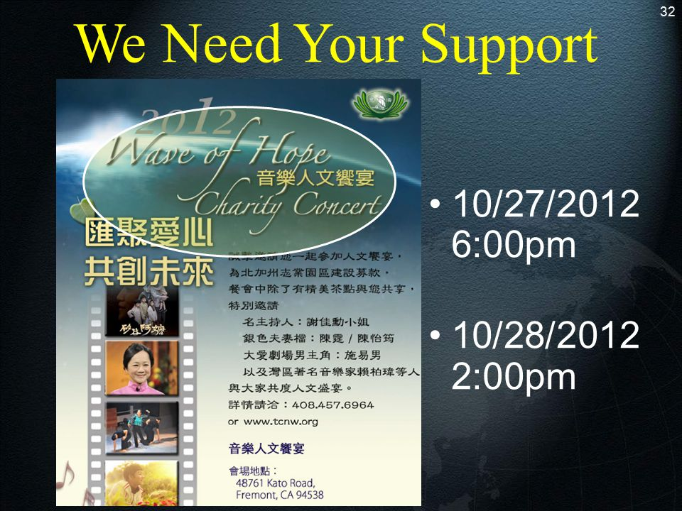 We Need Your Support 32 10/27/2012 6:00pm 10/28/2012 2:00pm