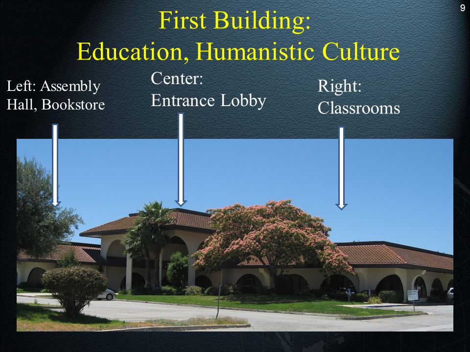 9 First Building: Education, Humanistic Culture Center: Entrance Lobby Right: Classrooms Left: Assembly Hall, Bookstore
