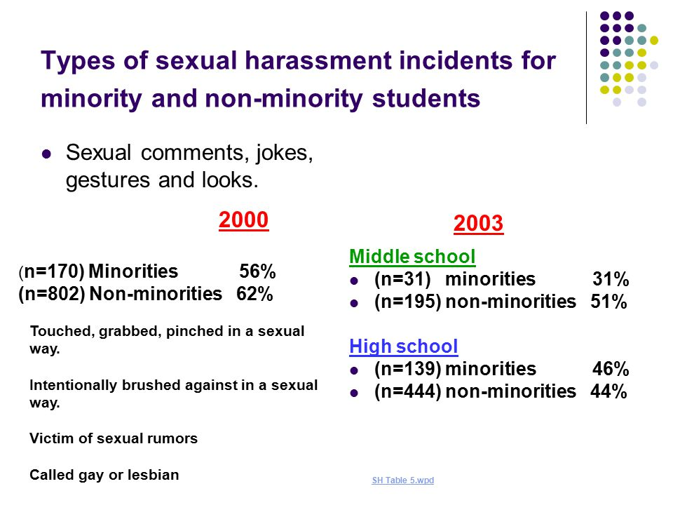Types of sexual harassment incidents for minority and non-minority students Sexual comments, jokes, gestures and looks.