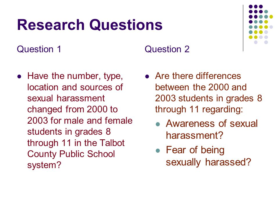 Research Questions Question 1 Have the number, type, location and sources of sexual harassment changed from 2000 to 2003 for male and female students in grades 8 through 11 in the Talbot County Public School system.