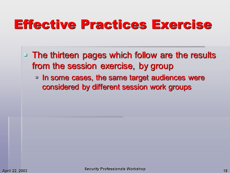 April 22, 2003 Security Professionals Workshop 18 Effective Practices Exercise  The thirteen pages which follow are the results from the session exercise, by group  In some cases, the same target audiences were considered by different session work groups