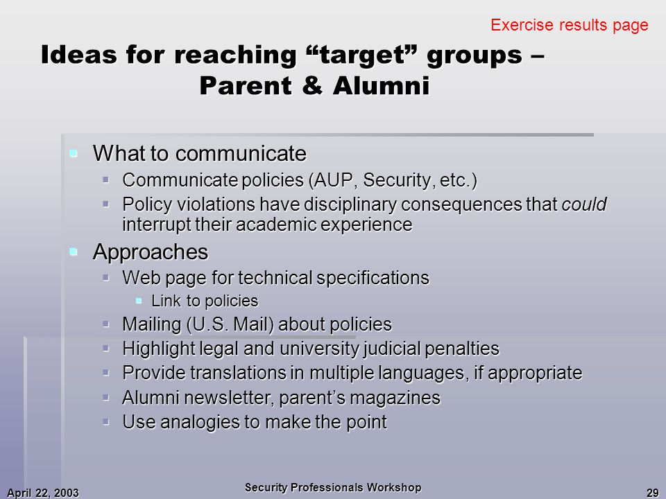 April 22, 2003 Security Professionals Workshop 29 Ideas for reaching target groups – Parent & Alumni  What to communicate  Communicate policies (AUP, Security, etc.)  Policy violations have disciplinary consequences that could interrupt their academic experience  Approaches  Web page for technical specifications  Link to policies  Mailing (U.S.
