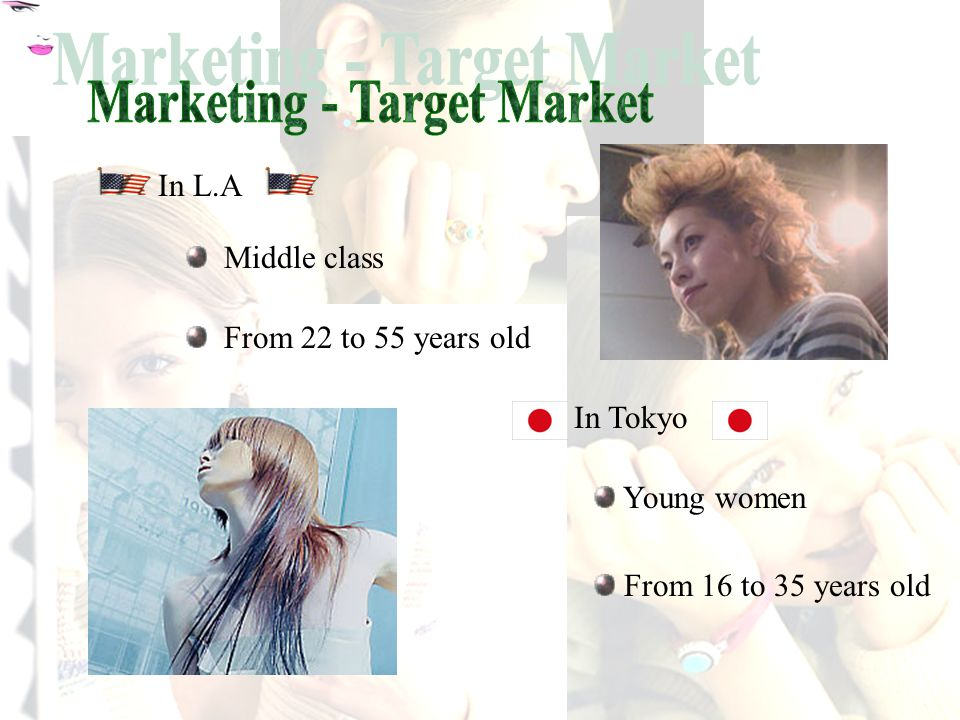 We will add two branches We will extend our target market to include men France Kyoto