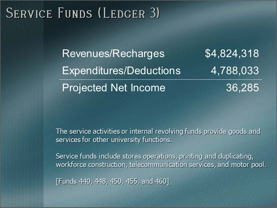 Service Funds (Ledger 3) The service activities or internal revolving funds provide goods and services for other university functions.