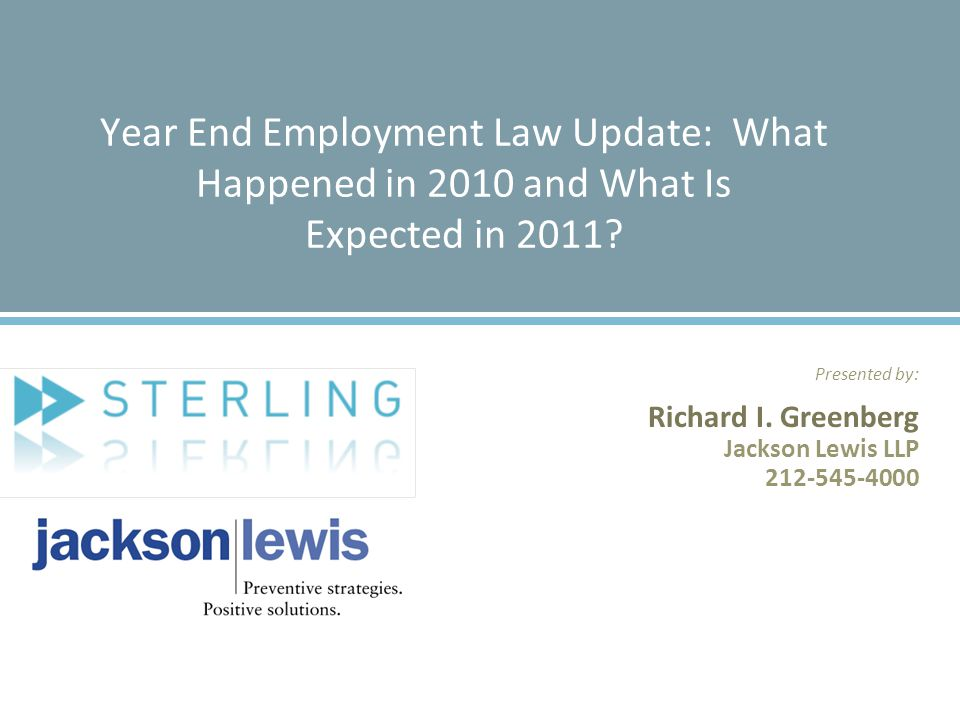 2 Overview of Seminar  Legislation Enacted in 2010  2010 Regulatory Developments  Litigation Trends  The New National Labor Relations Board  What's On The Horizon.