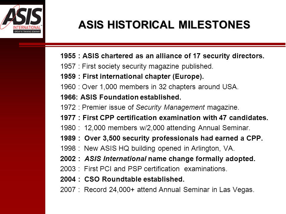 ASIS HISTORICAL MILESTONES 1955 : ASIS chartered as an alliance of 17 security directors.