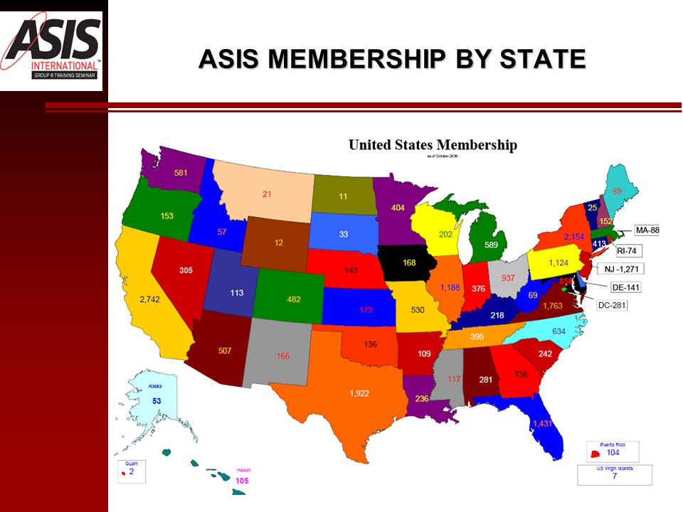 ASIS MEMBERSHIP BY STATE