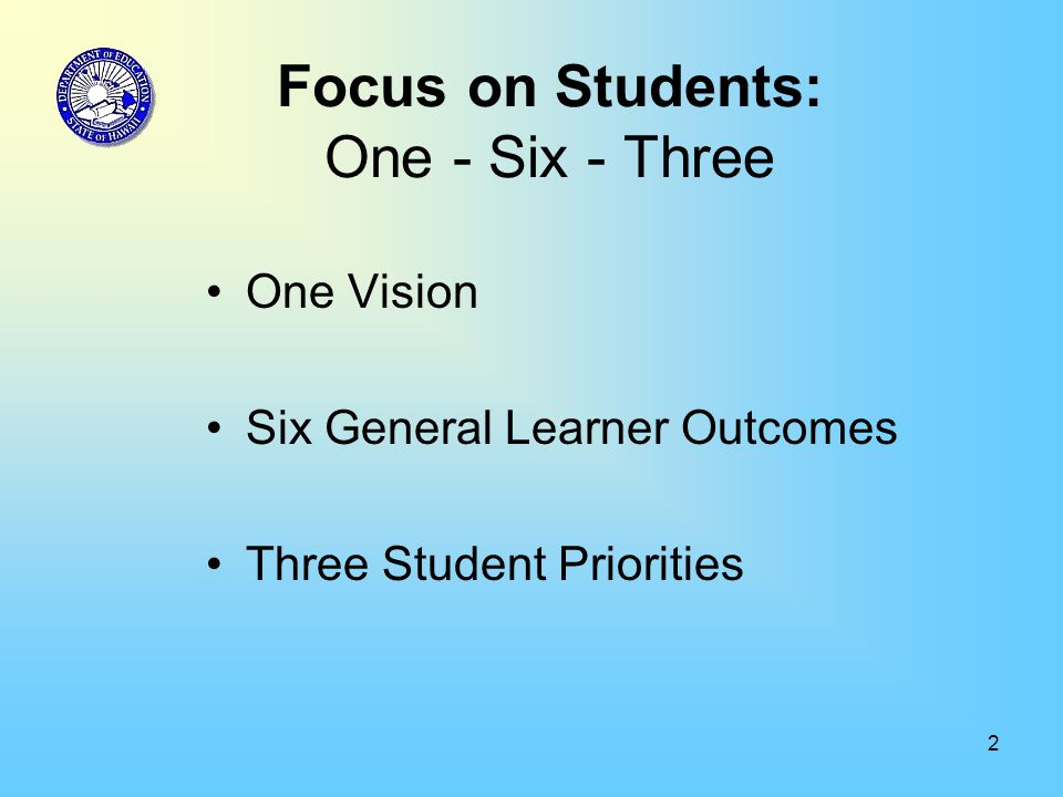 2 Focus on Students: One - Six - Three One Vision Six General Learner Outcomes Three Student Priorities