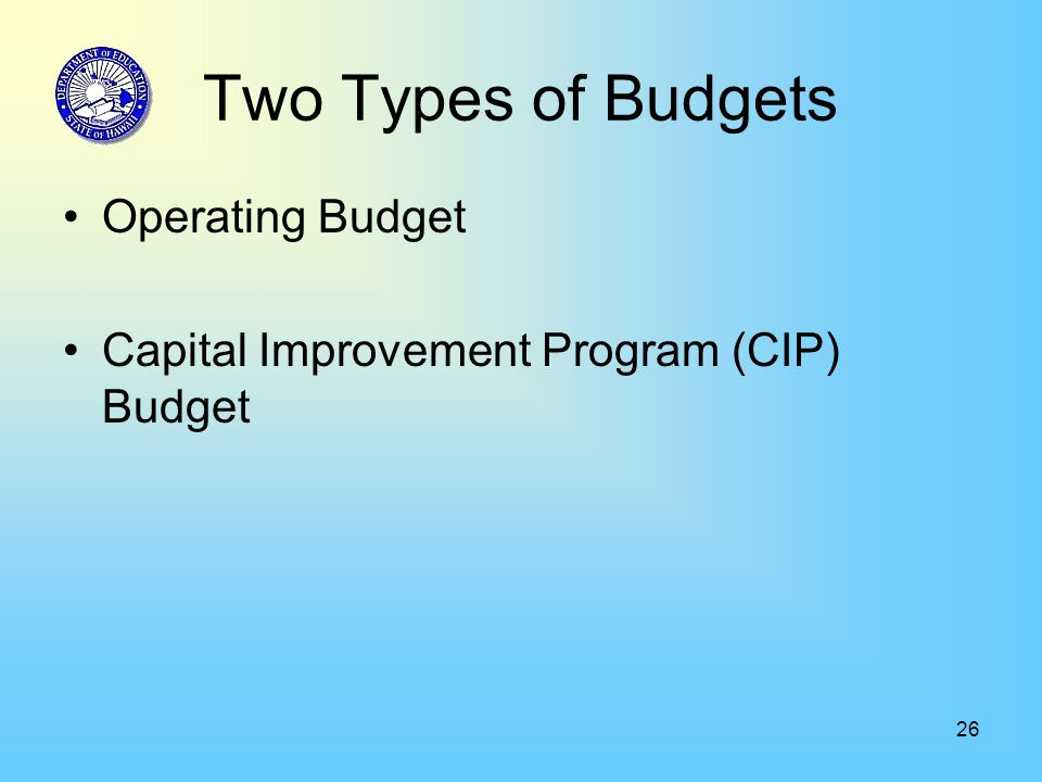 26 Two Types of Budgets Operating Budget Capital Improvement Program (CIP) Budget