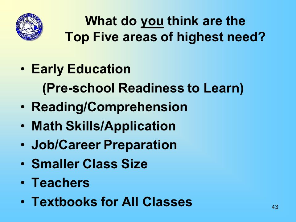 43 What do you think are the Top Five areas of highest need.