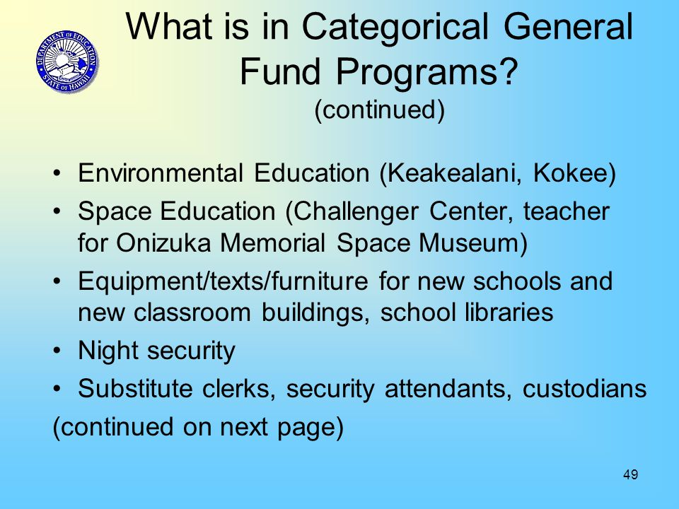 49 What is in Categorical General Fund Programs.