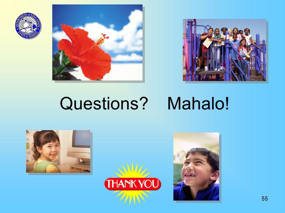 55 Questions Mahalo!