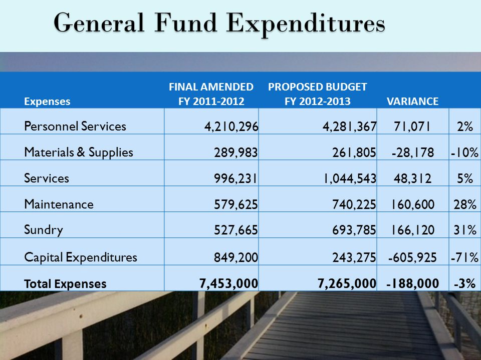 General Fund Expenditures Expenses FINAL AMENDED FY 2011-2012 PROPOSED BUDGET FY 2012-2013VARIANCE Personnel Services4,210,2964,281,36771,0712% Materials & Supplies289,983261,805-28,178-10% Services996,2311,044,54348,3125% Maintenance579,625740,225160,60028% Sundry527,665693,785166,12031% Capital Expenditures849,200243,275-605,925-71% Total Expenses 7,453,0007,265,000-188,000-3%