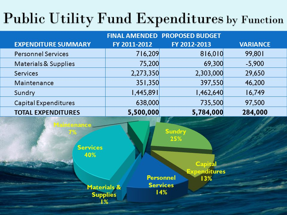 Public Utility Fund Expenditures by Function EXPENDITURE SUMMARY FINAL AMENDED FY 2011-2012 PROPOSED BUDGET FY 2012-2013VARIANCE Personnel Services 716,209816,01099,801 Materials & Supplies 75,20069,300-5,900 Services 2,273,3502,303,00029,650 Maintenance 351,350397,55046,200 Sundry 1,445,8911,462,64016,749 Capital Expenditures 638,000735,50097,500 TOTAL EXPENDITURES 5,500,0005,784,000284,000