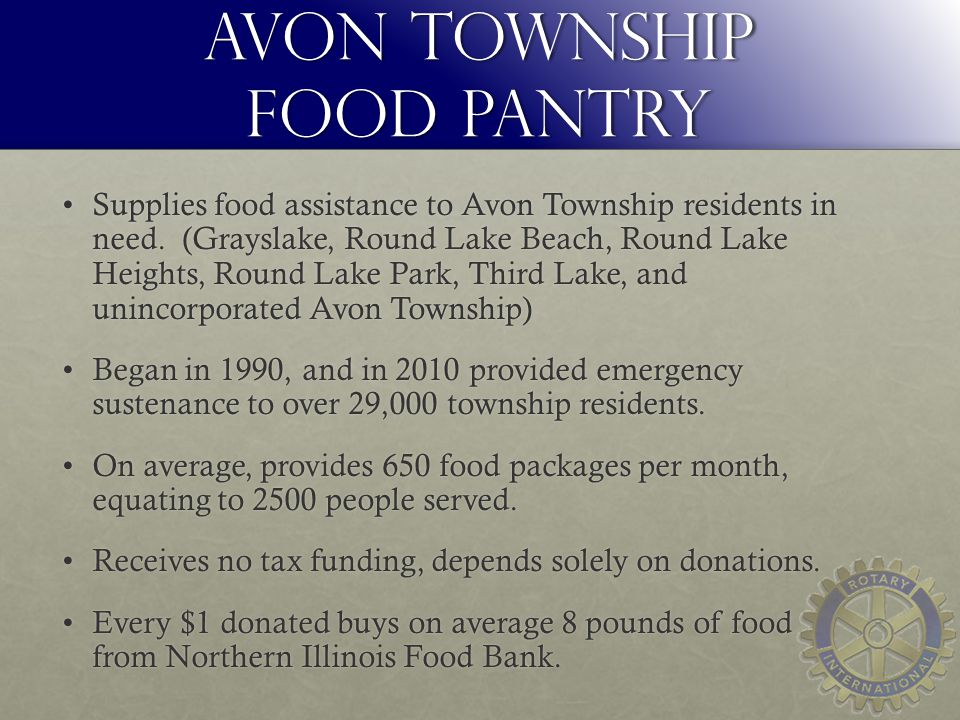 Avon Township Food Pantry Supplies food assistance to Avon Township residents in need.