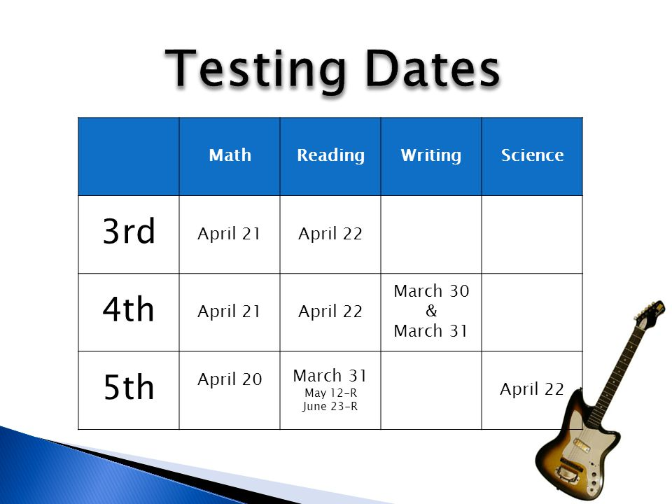 MathReadingWritingScience 3rd April 21April 22 4th April 21April 22 March 30 & March 31 5th April 20 March 31 May 12-R June 23-R April 22