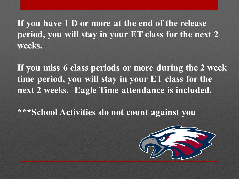 If you have 1 D or more at the end of the release period, you will stay in your ET class for the next 2 weeks.