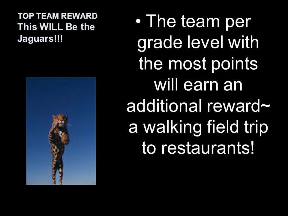 Team activities: recess, sit anywhere at lunch Grade level activities: dances School-wide activities: movie nights