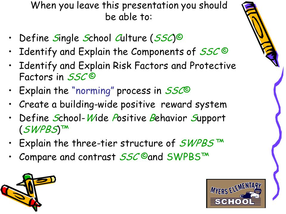 Develop 3 - 5 positive expectations for behavior Tell kids what to do instead of what not to do Teach, Model, Practice, Praise & Encourage Expected Behavior Monitoring & evaluation Give booster shots (Oct., Dec., Jan., Mar., May) Continuum of Support for ALL students Components of School-Wide Positive Behavior Support (SWPBS)™