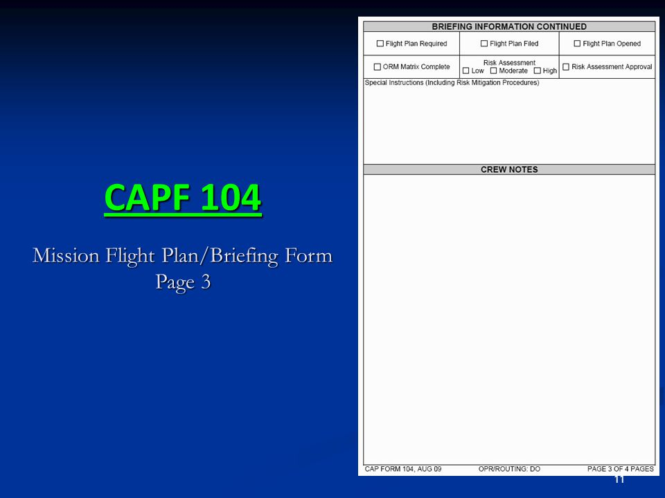 11 CAPF 104 Mission Flight Plan/Briefing Form Page 3