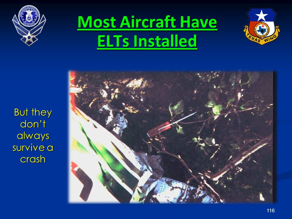 116 Most Aircraft Have ELTs Installed But they don't always survive a crash