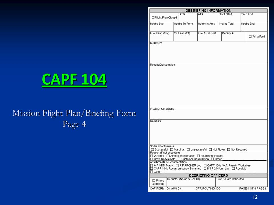 12 CAPF 104 Mission Flight Plan/Briefing Form Page 4