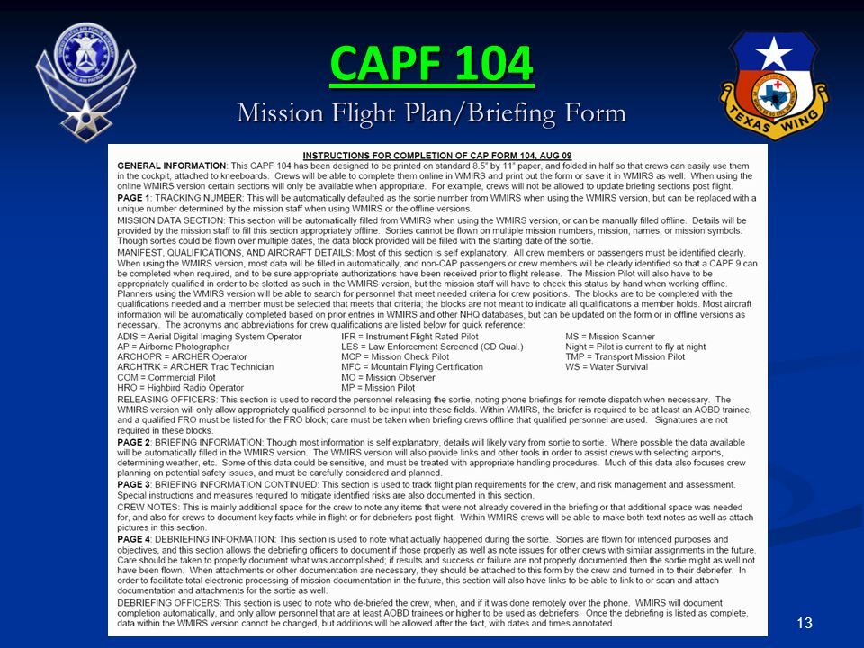 13 CAPF 104 Mission Flight Plan/Briefing Form