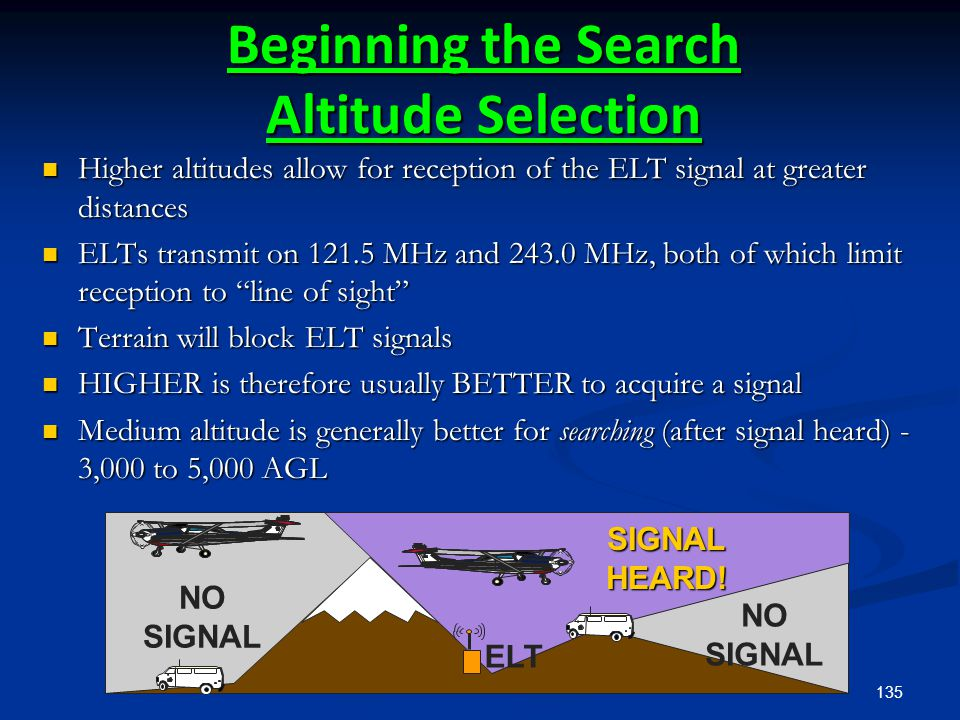135 NO SIGNAL SIGNALHEARD! ELT Beginning the Search Altitude Selection Higher altitudes allow for reception of the ELT signal at greater distances Hig