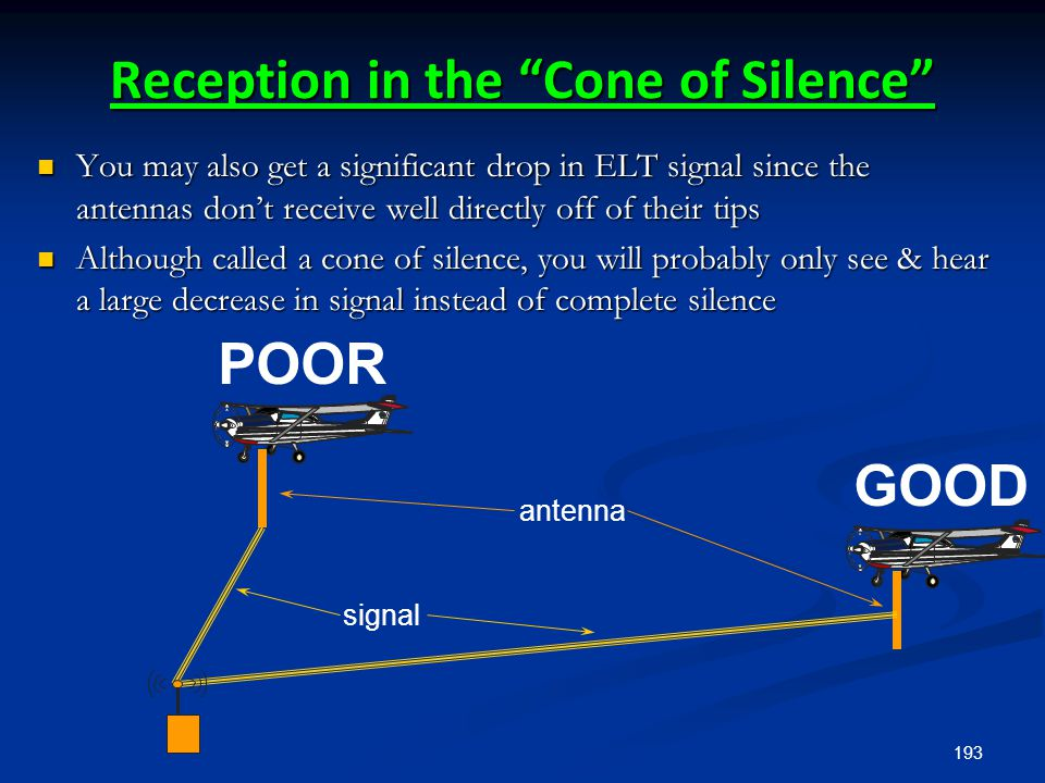 "193 Reception in the ""Cone of Silence"" antenna signal GOOD POOR You may also get a significant drop in ELT signal since the antennas don't receive wel"