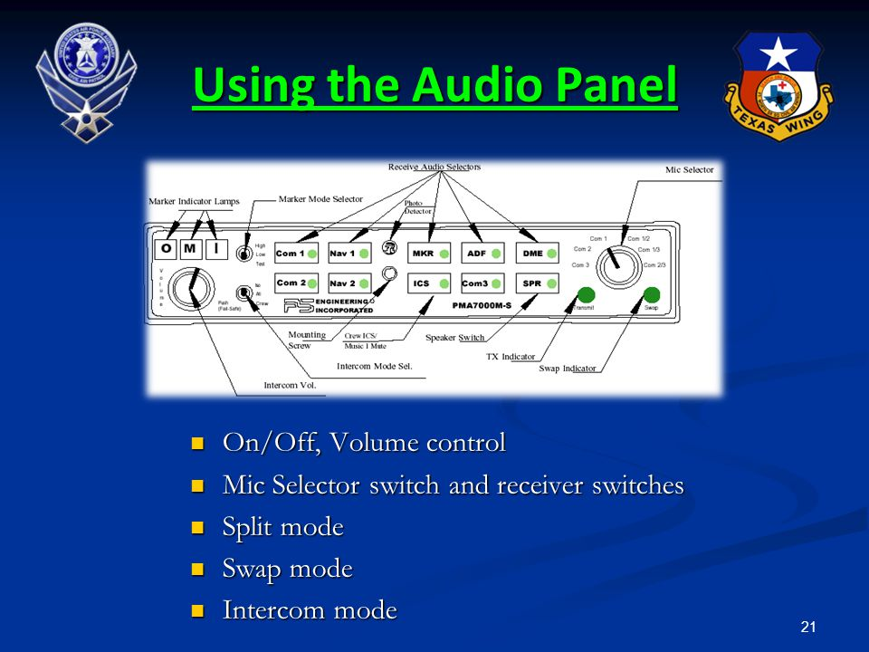 21 Using the Audio Panel On/Off, Volume control On/Off, Volume control Mic Selector switch and receiver switches Mic Selector switch and receiver swit