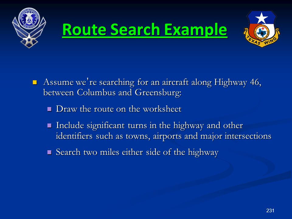 231 Assume we ' re searching for an aircraft along Highway 46, between Columbus and Greensburg: Assume we ' re searching for an aircraft along Highway