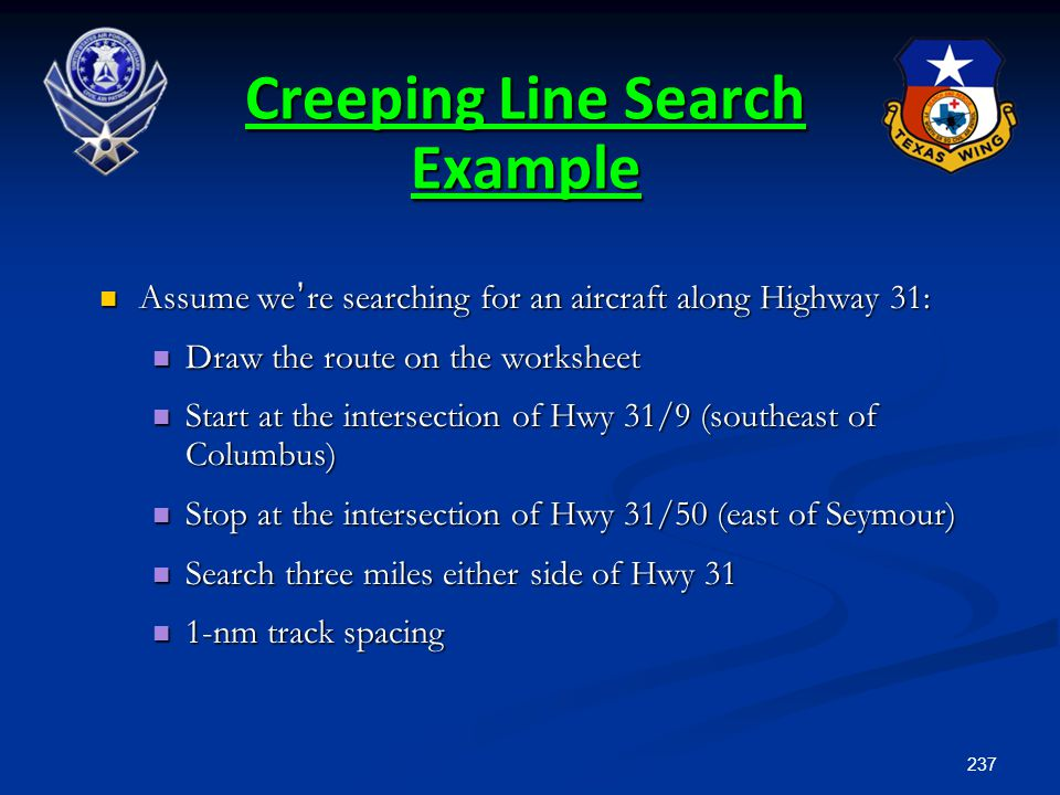 237 Assume we ' re searching for an aircraft along Highway 31: Assume we ' re searching for an aircraft along Highway 31: Draw the route on the worksh