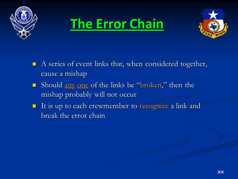 304 The Error Chain A series of event links that, when considered together, cause a mishap A series of event links that, when considered together, cau