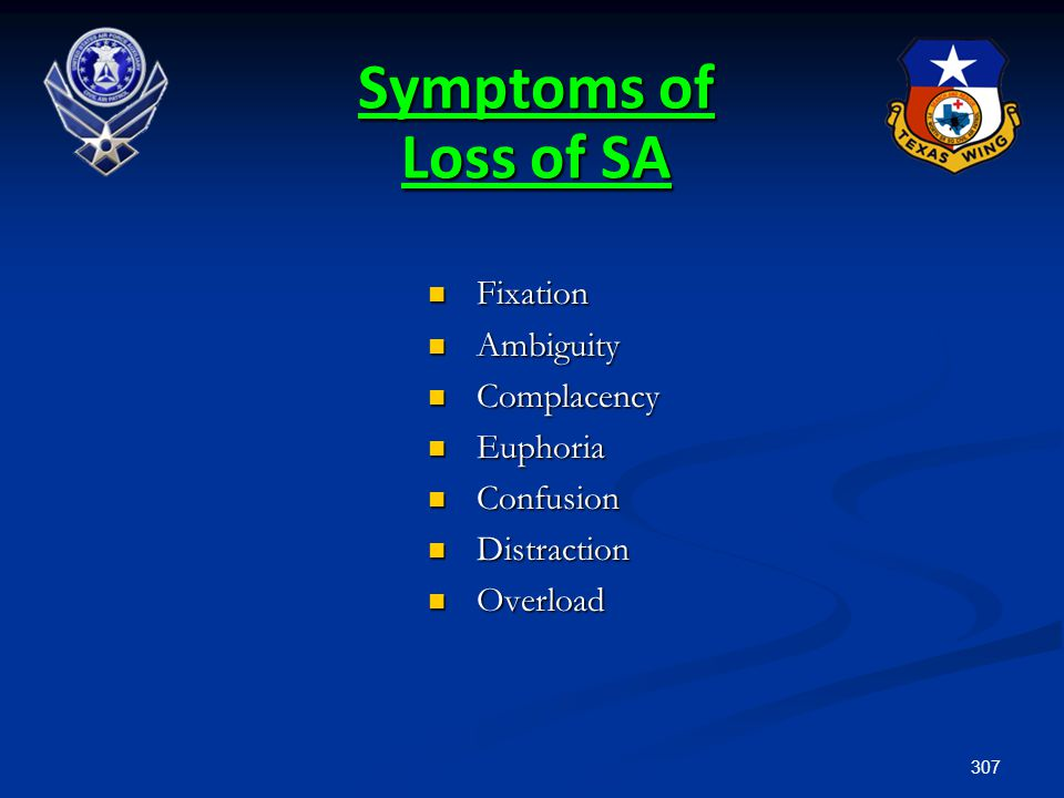 307 Symptoms of Loss of SA Fixation Fixation Ambiguity Ambiguity Complacency Complacency Euphoria Euphoria Confusion Confusion Distraction Distraction