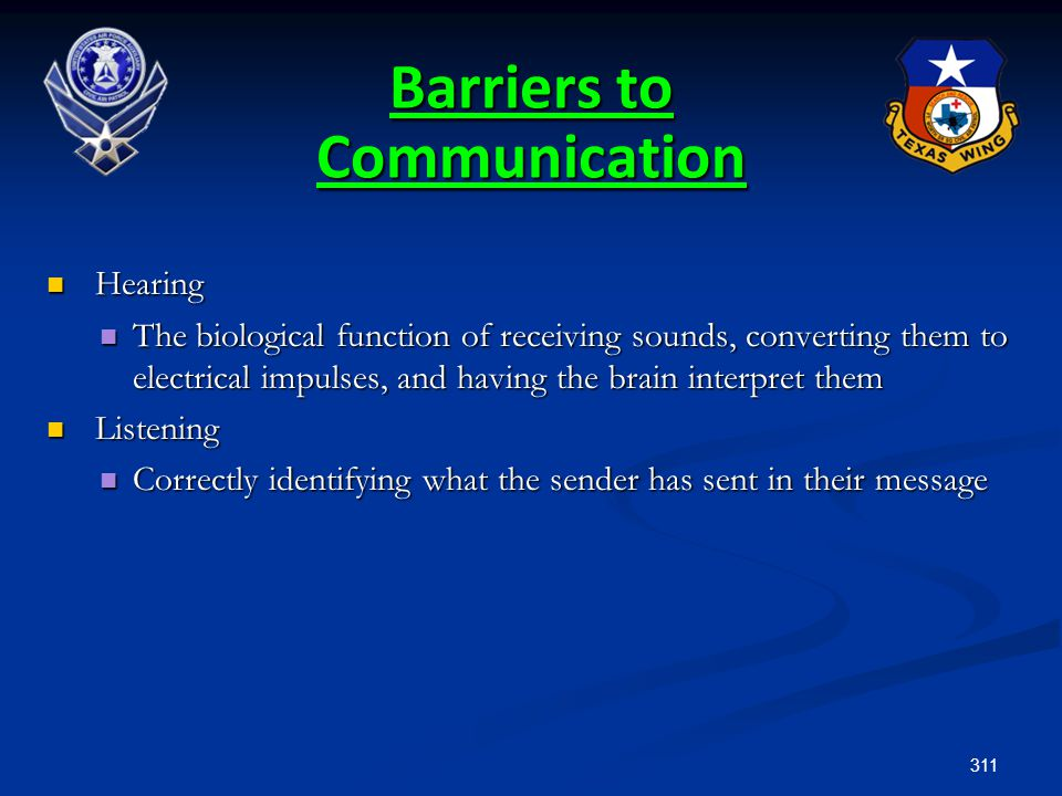 311 Barriers to Communication Hearing Hearing The biological function of receiving sounds, converting them to electrical impulses, and having the brai