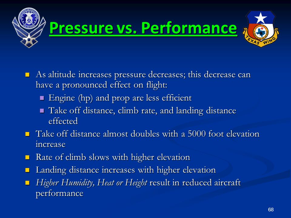 68 As altitude increases pressure decreases; this decrease can have a pronounced effect on flight: As altitude increases pressure decreases; this decr