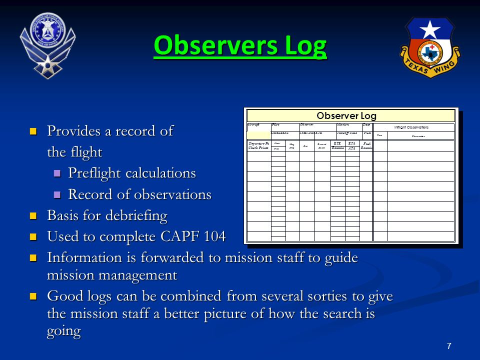 7 Observers Log Provides a record of Provides a record of the flight Preflight calculations Preflight calculations Record of observations Record of ob