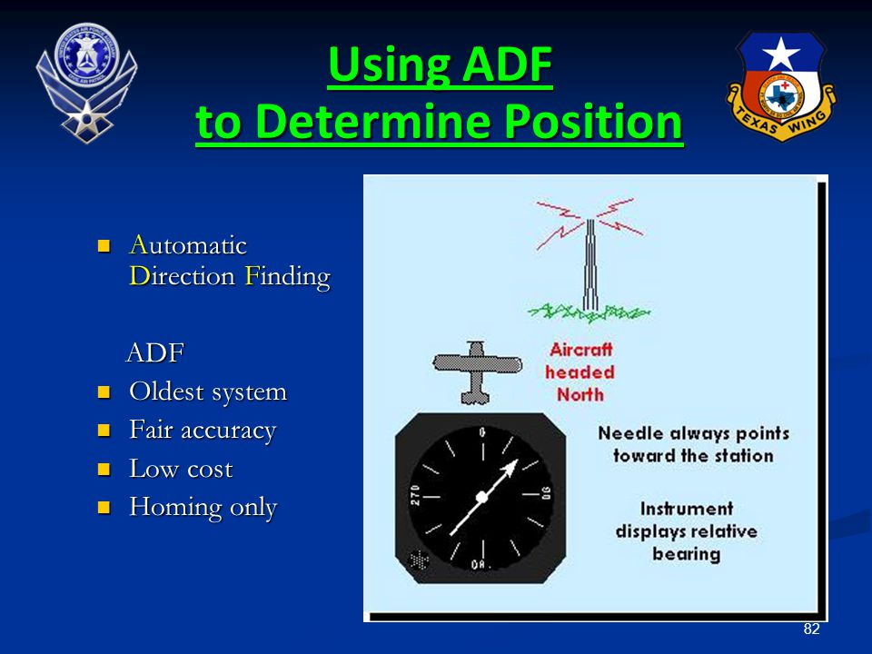 82 Using ADF to Determine Position Automatic Direction Finding Automatic Direction Finding ADF ADF Oldest system Oldest system Fair accuracy Fair accu