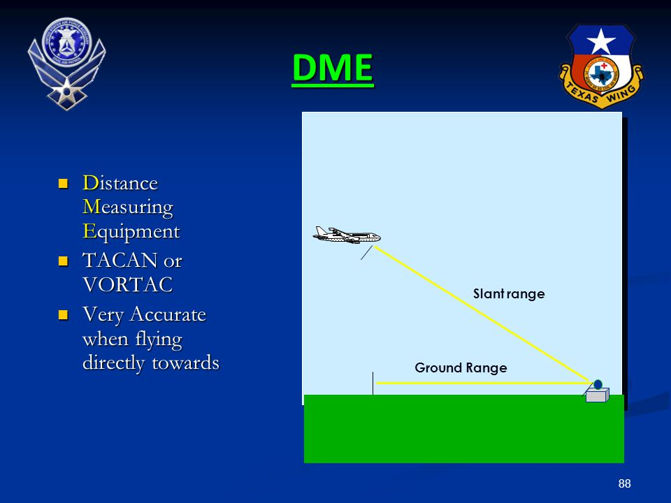 88 DME Distance Measuring Equipment Distance Measuring Equipment TACAN or VORTAC TACAN or VORTAC Very Accurate when flying directly towards Very Accur