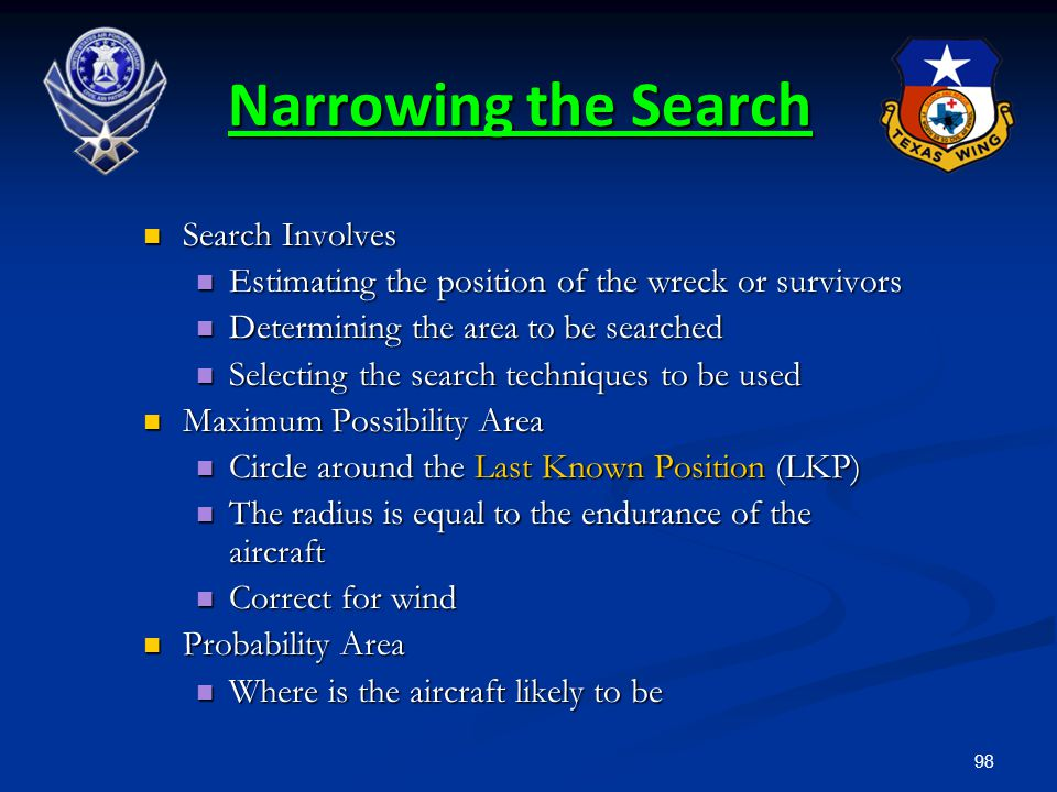 98 Narrowing the Search Search Involves Search Involves Estimating the position of the wreck or survivors Estimating the position of the wreck or surv