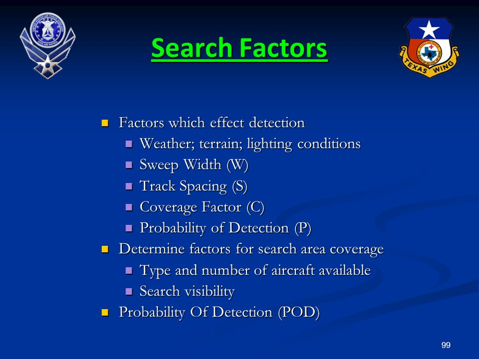 99 Search Factors Factors which effect detection Factors which effect detection Weather; terrain; lighting conditions Weather; terrain; lighting condi