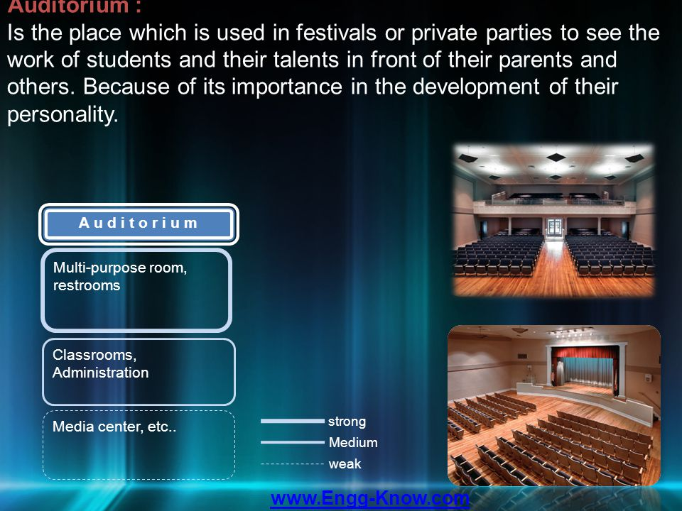 Auditorium : Is the place which is used in festivals or private parties to see the work of students and their talents in front of their parents and ot