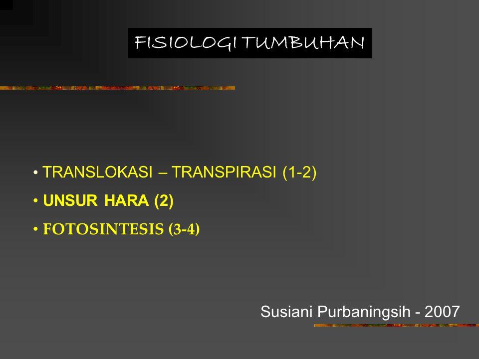 FISIOLOGI TUMBUHAN TRANSLOKASI – TRANSPIRASI (1-2) UNSUR HARA (2) FOTOSINTESIS (3-4) Susiani Purbaningsih - 2007