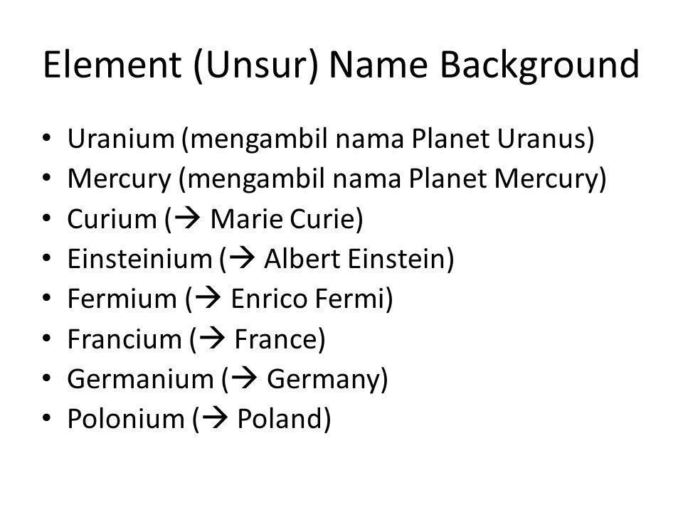 Element (Unsur) Name Background Uranium (mengambil nama Planet Uranus) Mercury (mengambil nama Planet Mercury) Curium (  Marie Curie) Einsteinium (  Albert Einstein) Fermium (  Enrico Fermi) Francium (  France) Germanium (  Germany) Polonium (  Poland)