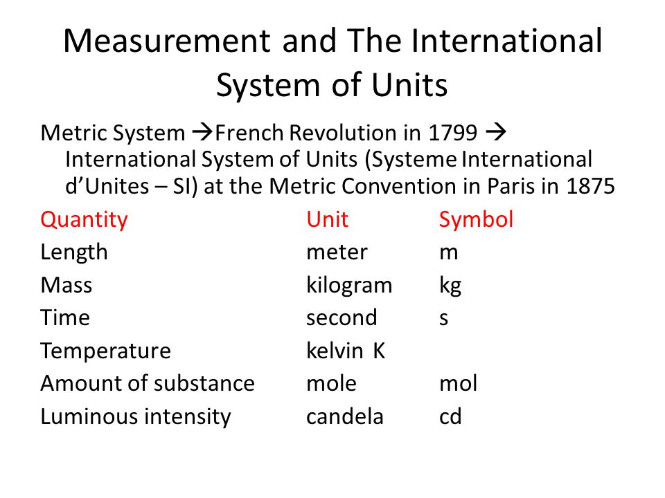 Measurement and The International System of Units Metric System  French Revolution in 1799  International System of Units (Systeme International d'Unites – SI) at the Metric Convention in Paris in 1875 QuantityUnitSymbol Lengthmeterm Masskilogramkg Timeseconds TemperaturekelvinK Amount of substancemolemol Luminous intensitycandelacd
