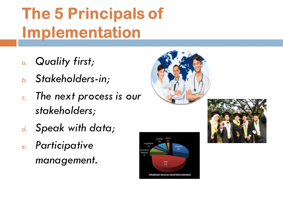 The 5 Principals of Implementation a. Quality first; b.