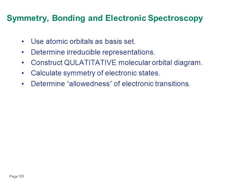 Page 109 Symmetry, Bonding and Electronic Spectroscopy Use atomic orbitals as basis set. Determine irreducible representations. Construct QULATITATIVE