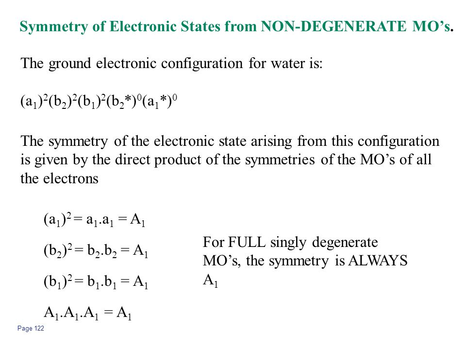 Page 122 Symmetry of Electronic States from NON-DEGENERATE MO's. The ground electronic configuration for water is: (a 1 ) 2 (b 2 ) 2 (b 1 ) 2 (b 2 *)